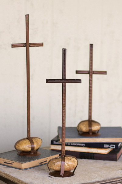 set of 3 caged rock crosses