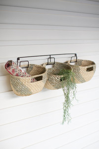 Haitian Metal Wall Hanging Rack with Handwoven Seagrass Basket Trio