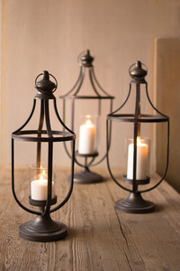 METAL LANTERNS WITH GLASS INSERT