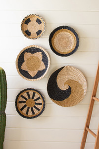 Set of 5 Round Seagrass Platter Wall Hangings