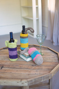 rocheted fique wine bags