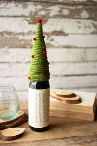 Red and Green Coiled Felt Tree Wine Topper