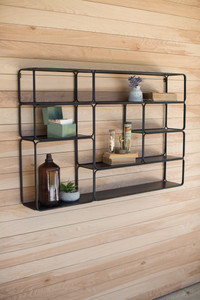 Large Multi-Compartment Metal Wall Shelf