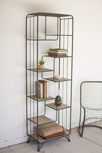 MULTI LEVEL WOOD AND METAL SHELVING