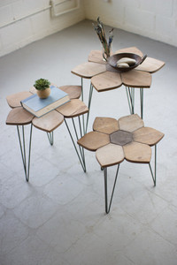 FLOWER SIDE TABLES WITH WOODEN TOPS
