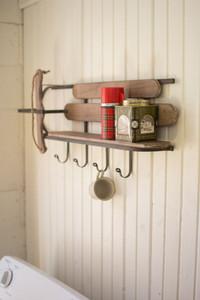 Wood and Iron Sleigh Shelf