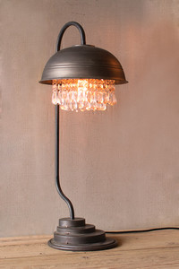 metal dome table lamp with gems