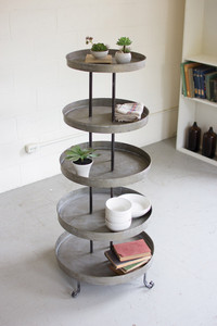 five tiered round metal display tower