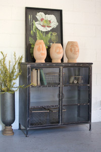 short iron and glass apothecary cabinet