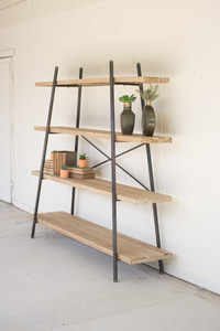 WOOD AND METAL TIERED DISPLAY