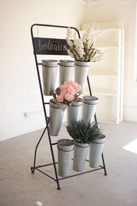 FLOWER RACK WITH NINE GALVANIZED