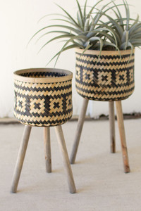 Set of 2 Woven Black & Natural Bamboo Plant Stands with Wood Legs