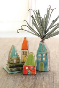 ceramic house bud vases