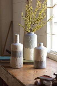 set of three ceramic bottle vases - matte grey and cream