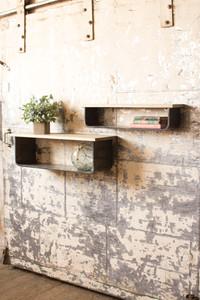 set of 2 wood and metal wall shelves