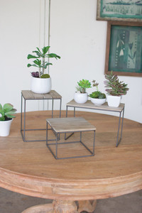 set of 3 wood and metal risers