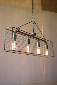 four bulb wire mesh horizontal pendant light