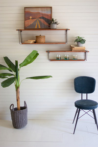 Set of 2 Recycled Honey Wood and Metal Shelves