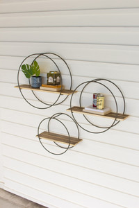 Set of 3 Recycled Wooden Shelves with Round Metal Frames