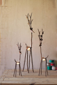 Set of 3 Rustic Iron Reindeer with Tealight Holder