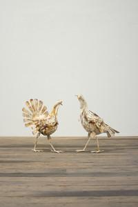 Set of 2 Antique White Metal Turkeys