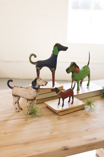 RECYCLED PAINTED IRON DOGS