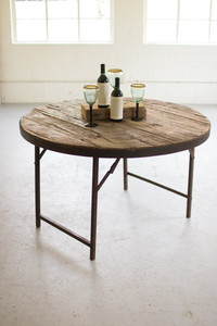 WOODEN ROUND FOLDING TENT TABLE