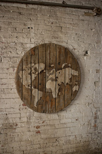 WOODEN SPOOL WORLD MAP