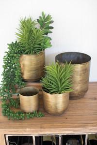 set of four metal flower pots - aged brass finish