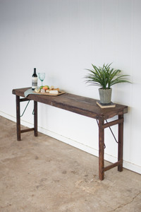 WOODEN FOLDING CONSOLE TABLE