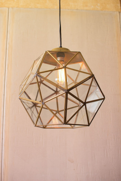large glass and antique gold metal faceted pendants