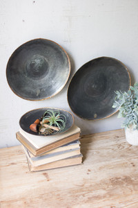 ANTIQUE BLACK COPPER PLATTERS