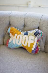 "Recycled Kantha ""Woof"" Bone Pillow"