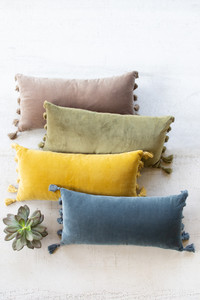Lush Velvet Lumbar Pillow - Steel Blue