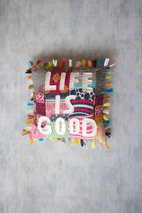 """Recycled Kantha """"Life Is Good"""" Pillow with Tassels"""