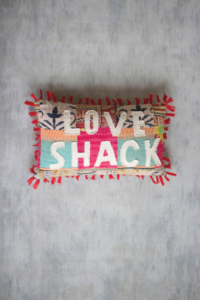 """Recycled Kantha """"Love Shack"""" Pillow with Tassels"""