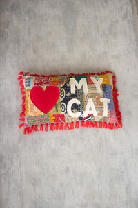 """Recycled Kantha """"Love My Cat"""" Pillow with Tassels"""