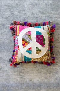 Recycled Kantha Peace Sign Pillow with Fringe Border