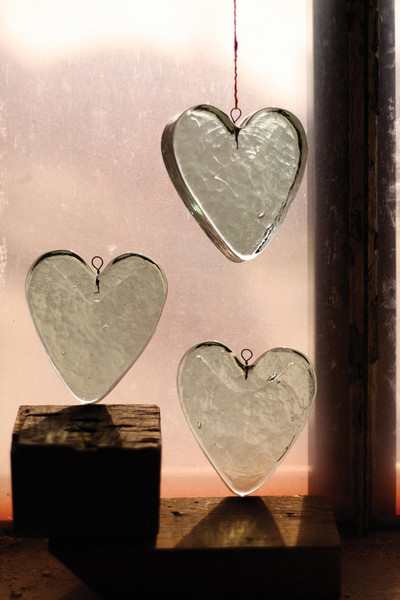 hanging recycled glass - heart